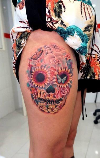 skull tattoos with flowers   Thigh Flower Skull Tattoo by Astin Tattoo