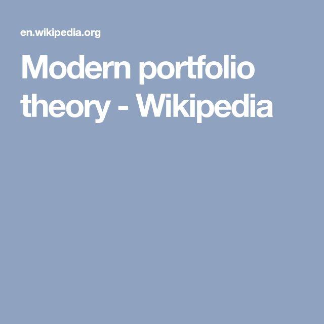Modern portfolio theory - Wikipedia