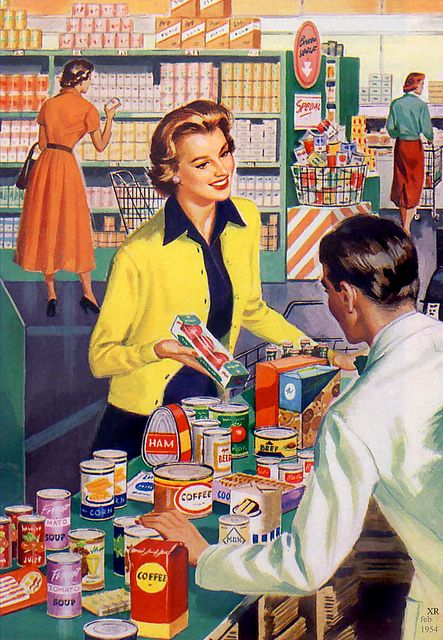 Doing the weekly grocery shopping mid-1950s style. Oh yes, every women dressed up when she left the house, for whatever reason. To be seen in PUBLIC in anything else was an embarrassment and it was frowned upon.
