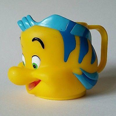 Disney Cup FLOUNDER The Little Mermaid Fish friend Head Cup 90s Vintage #TheLittleMermaid #Disney