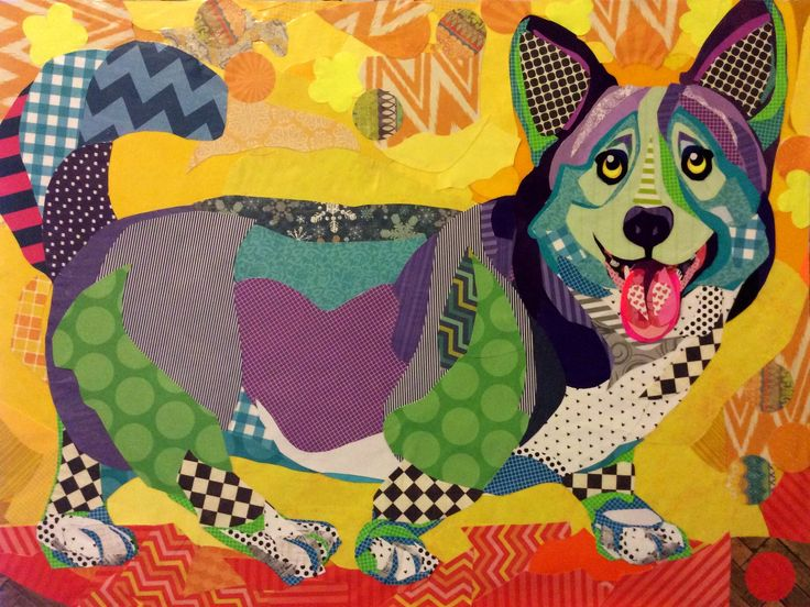 "Cut paper collage art, ""Corgi Joy"", 24""x32"" by Laura Yager. Dog artwork, corgi artwork, Welsh Corgi dog artwork, abstract dog artwork, paper art"