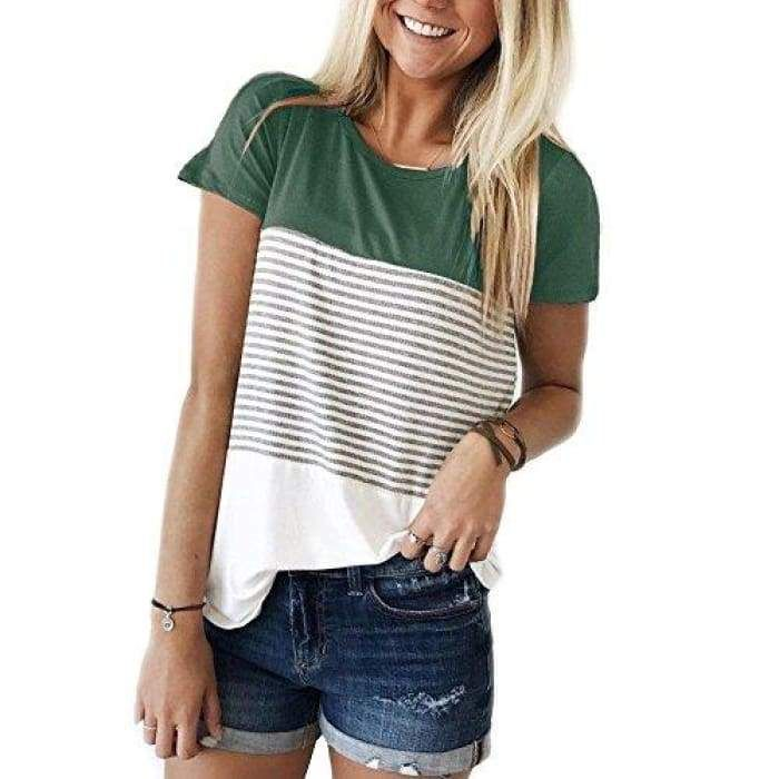 2312025b2181 Short Sleeve Round Neck Striped Color Block T-Shirts