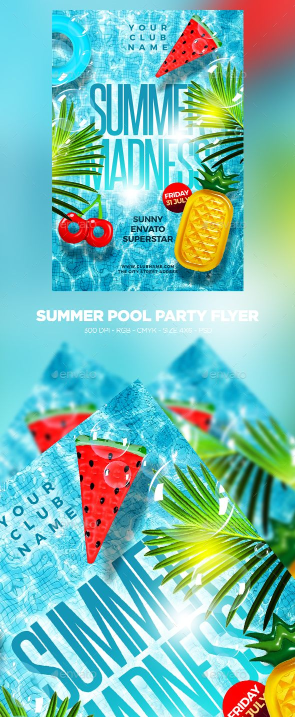 summer pool party flyer clubs parties events summer party