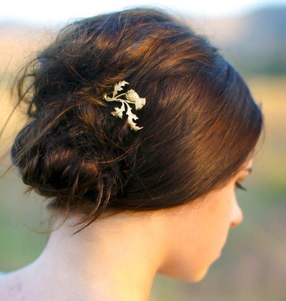 Gold schottische Distel Hair Pin Zweig, Blatt & Blüte Schottland Leaf Bobby Pin Geschenk für Sie  Wirklich schöne und einzigartige gold