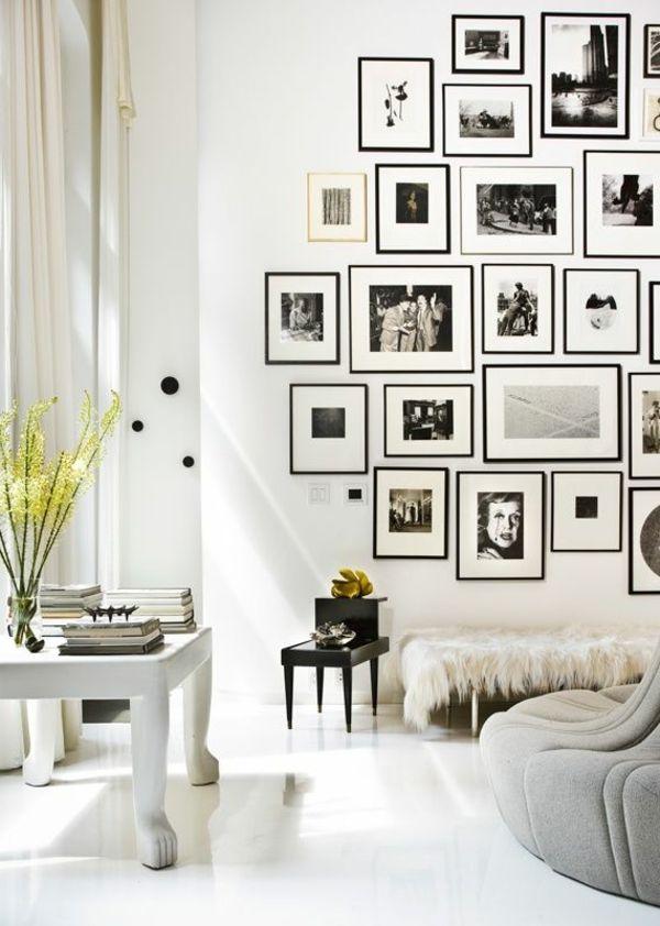 wohnzimmer wände dekorieren fotos aufhängen
