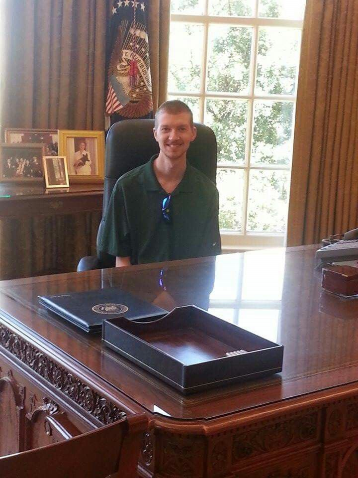 Tim in the oval office mock up at President GW Bush library!