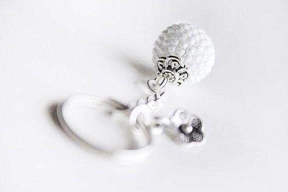 White Keyring Keychain. White Pearlescent Glass by PetalsDesignAU