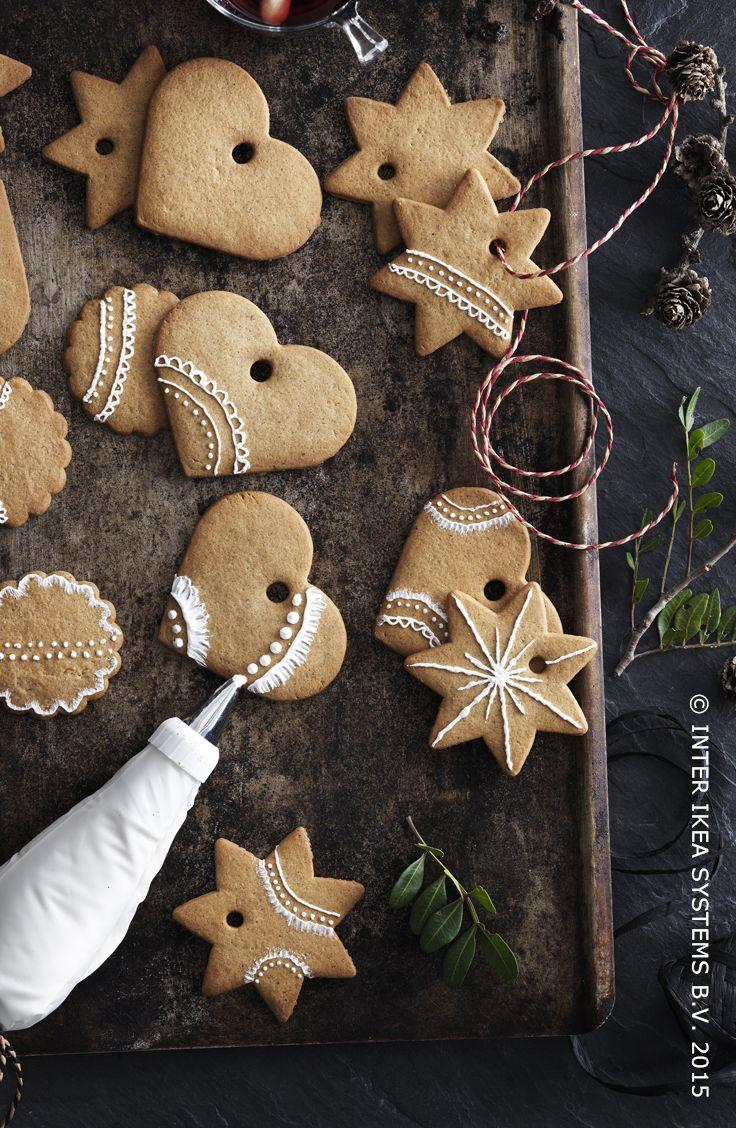 Maak deze kerst zelf je kerstdecoratie. Gemberkoekharten en -sterren PEPPARKAKA FIGURER #IKEABE