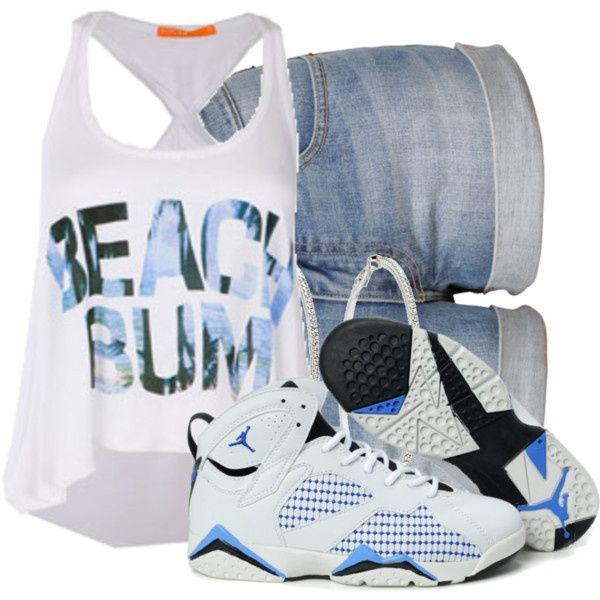get use to it- white graphic tank top, jean shorts and Air Jordan shoes