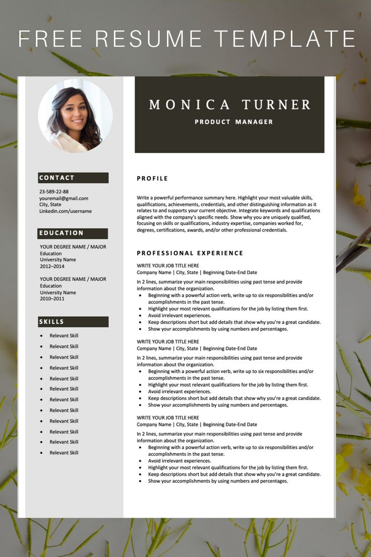 Download this professional resume template. You can easily