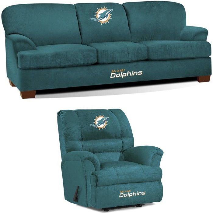 [[start tab]] Description The Miami Dolphins NFL All Star Fan Cave Set is made especially for the Big and Tall Fan. It includes the Big Daddy Rocker Wall-Away Recliner and First Team Sofa. The Sofa an