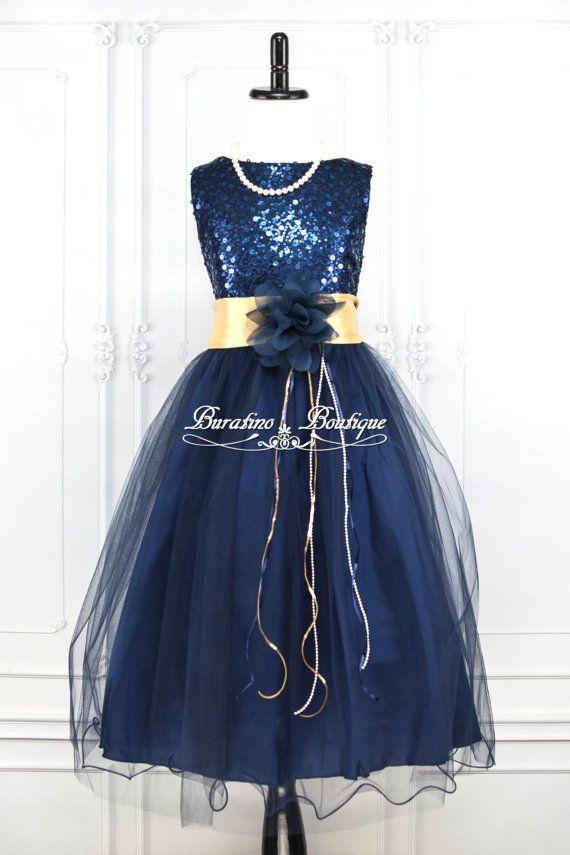 Jocelyn Navy Blue Sequin Flower Girl Dress Gold Sash