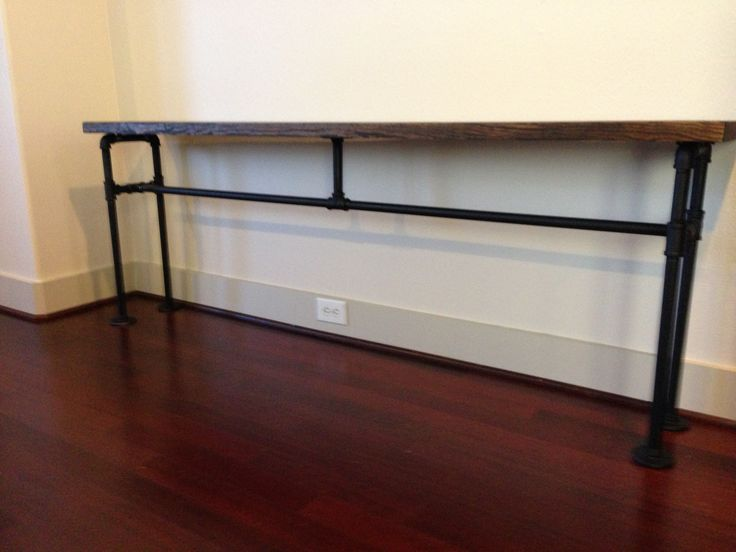 Diy console table from black plumbing pipe and wood all