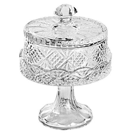 display your latest culinary creation atop this etched crystal cake stand featuring a scalloped pedestal
