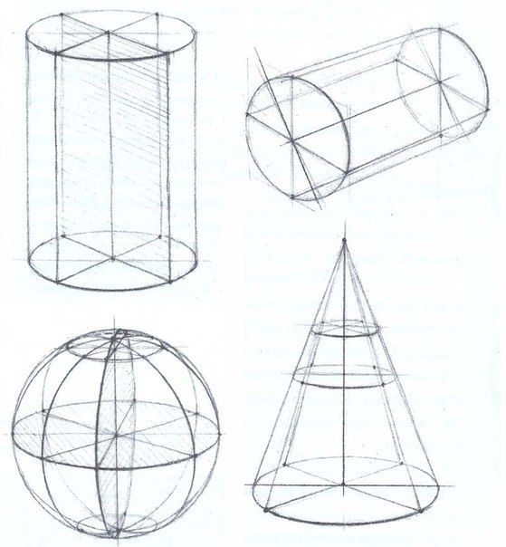cylinder, cone and sphere – three types of space figures that are not polyhedrons. – These figures have curved surfaces, not flat faces. – A cylinder is similar to a prism, but its two bases are circles, not polygons. Also, the sides of a cylinder are curved, not flat. – A cone has one circular base and a vertex that is not on the base. – The sphere is a space figure having all its points an equal distance from the center point.
