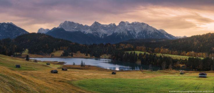 Фотограф Александр Науменко (Aleksandr Naumenko) - Германия. Бавария. Пасмурное утро на озере Geroldsee, вид на гору Karwendel #1557334. 35PHOTO