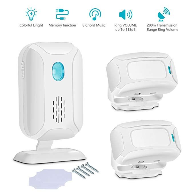 Wireless Motion Sensor Detector Door Entry Bell Alarm Receivers Secure System
