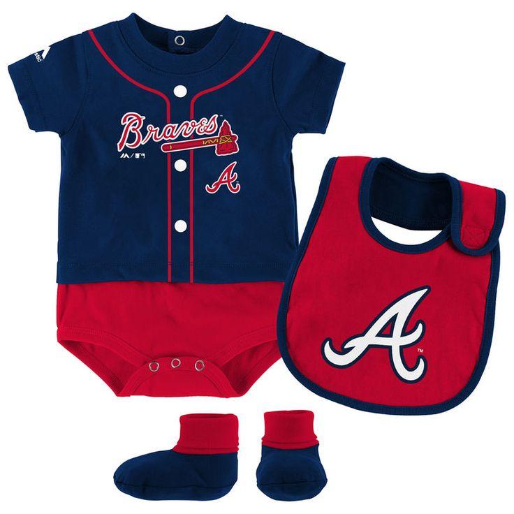 Atlanta Braves Majestic Newborn & Infant Tiny Player Bib, Boodie & Bodysuit Set - Navy