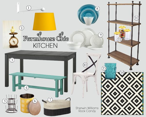 Farmhouse Chic Kitchen Mood Board | Teal and Lime Interiors