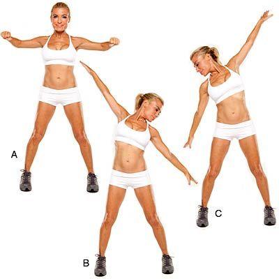 """Standing Sexy Abs - Bikini Workout Debout Sexy Abs Stand avec les pieds légèrement plus large que la largeur des hanches en dehors, les bras à hauteur des épaules et les coudes pliés à 90 degrés; serrer les omoplates (A). Déplacez la cage thoracique à gauche, étendant les bras de sorte qu'ils forment une ligne diagonale, les paumes face vers le bas; appuyez sur bras arrière (B). Revenez à la position """"A""""; serrer les omoplates. Répétez «B», mais cette fois mouvement de la cage thoracique à…"""