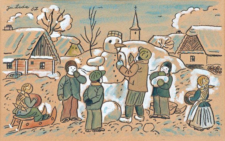 LadaJosef (1887–1957) | Stavění sněhuláků, 1937 | akvarel, kvaš, lepenka, 25 x 38 cm