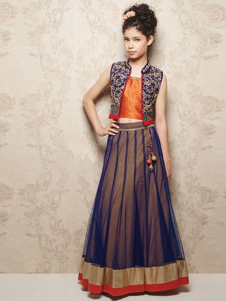 Shop Navy orange wedding wear net choli suit online from G3fashion India. Brand - G3, Product code - G3-GCS0113, Price - 5995, Color - Navy, Orange, Fabric - Net, Raw Silk,