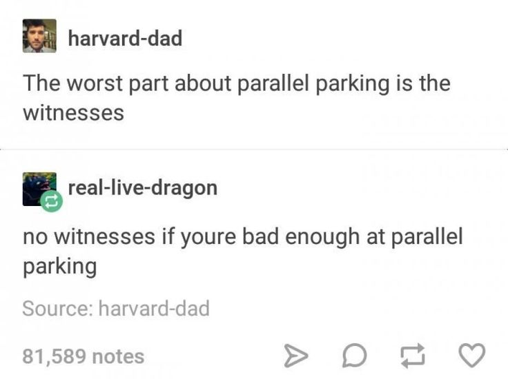 The worst part about parallel parking is the witnesses no witnesses if you're bad enough at parallel parking