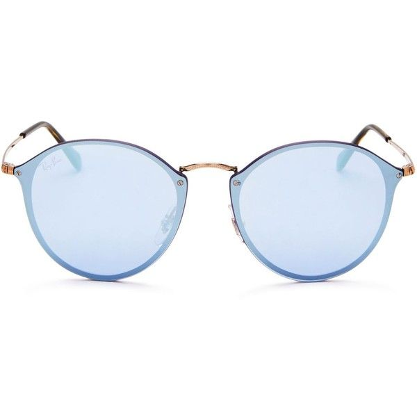 Ray-Ban Mirrored Round Sunglasses, 59mm ($210) ❤ liked on Polyvore featuring accessories, eyewear, sunglasses, round sunglasses, mirrored sunglasses, round mirrored sunglasses, mirrored glasses and mirror sunglasses