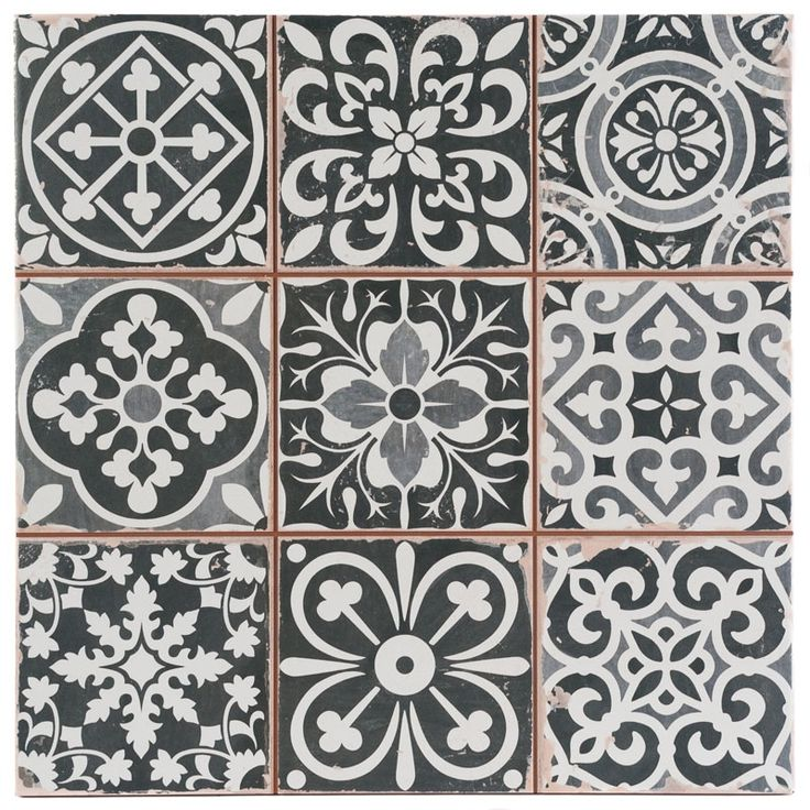 Marrakesh Black Decor Tile 33x33cm