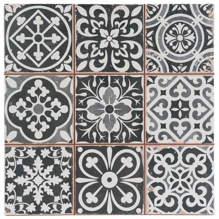 Marrakesh Black Decor Tile 33x33cm