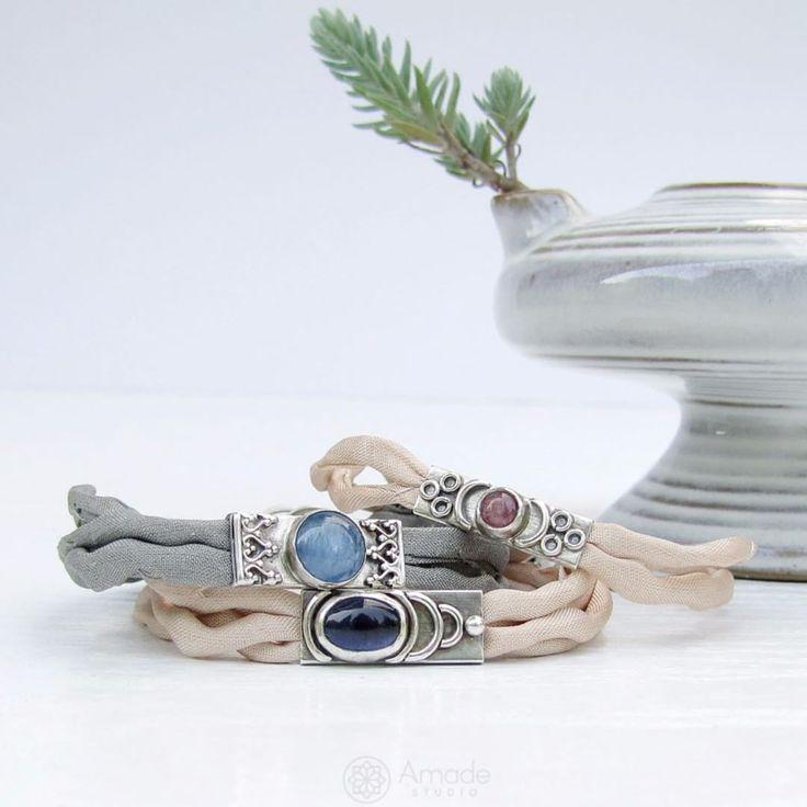 www.polandhandmade.pl - Silver bracelets on natural silk. Each one is different and unique. - #polandhandmade #amadestudio #bohostyle #gypsy #hippie #bracelet #silk #handmadew #handmadejewelry