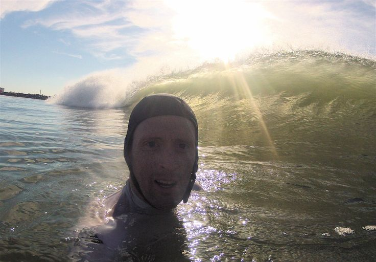 Selfie (taking it on the head for the ego), Rockaway Beach surfing, NYC during Cristobal August 2014