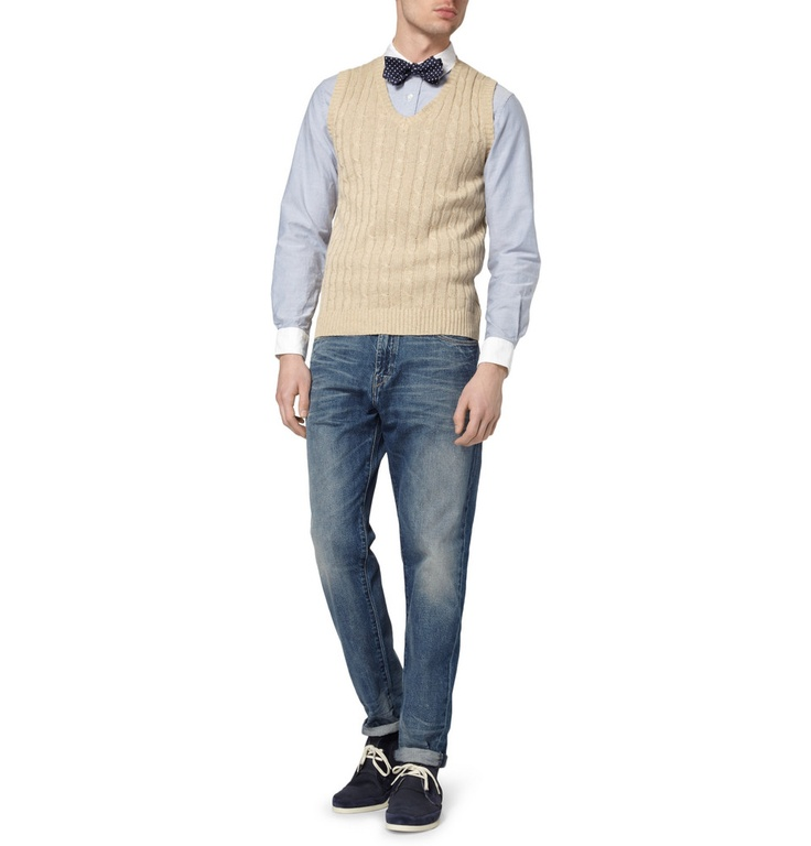 Beams Plus Cable-Knit Linen and Cotton-Blend Sleeveless Sweater Drake's Polka-Dot Silk Bow Tie, Beams Plus Cotton Oxford Shirt, Levi's Made & Crafted Worn Straight-Leg Jeans, Folk  Armstrong Suede and Leather Chukka Boots