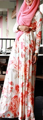 http://abayatrade.com muslim fashion magazine Florish Peach Dress. #Hijab!