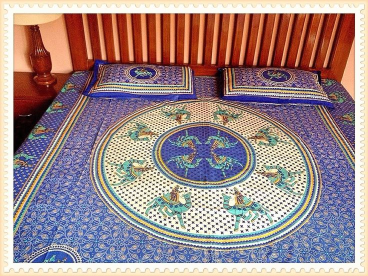 Multicolour Blue and Beige Jaipuri Print double Bedsheet from Urban Buy