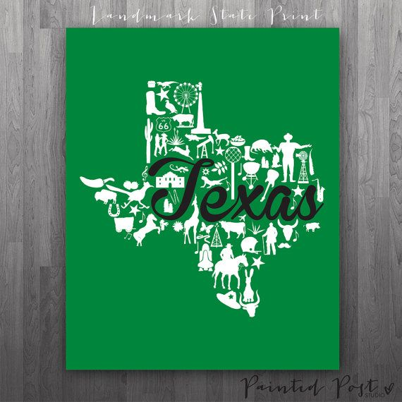 Denton Texas Landmark State Gicle Print 8x10 By PaintedPost 1500 Paintedpoststudio