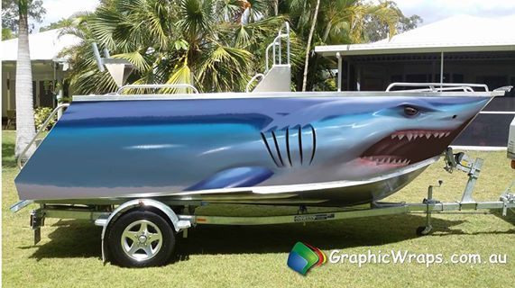 Mako Shark Boat Wrap Illustrated Graphic