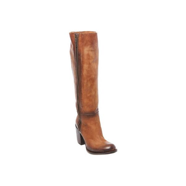 Women's FREEBIRD by Steven Beau Tall Boot - Cognac Leather Casual ($277) ❤ liked on Polyvore featuring shoes, boots, casual, leather boots, tan, chunky heel boots, cognac boots, tan knee high boots, chunky high heel boots and leather knee high boots