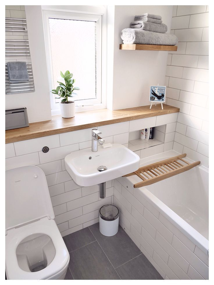 Simple Bathroom Of White And Wood With Grey Tiles Accents Small Bathroom Bathroom Design Small Stylish Bathroom