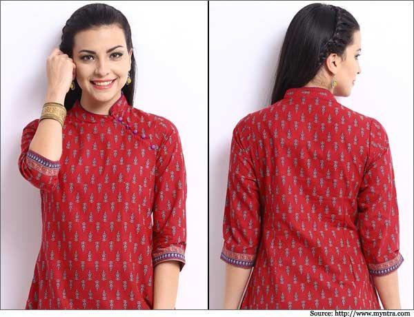 Red-Printed-Kurta-Churidar Neck Designs