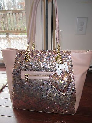 NWT Betsey Johnson Fairy Dust Pink Multi Sequined Tote Bag Shoulder Purse Sequin