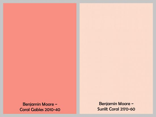 gray and coral paint colors (Benjamin Moore Coral Gables and Sunlit Coral)