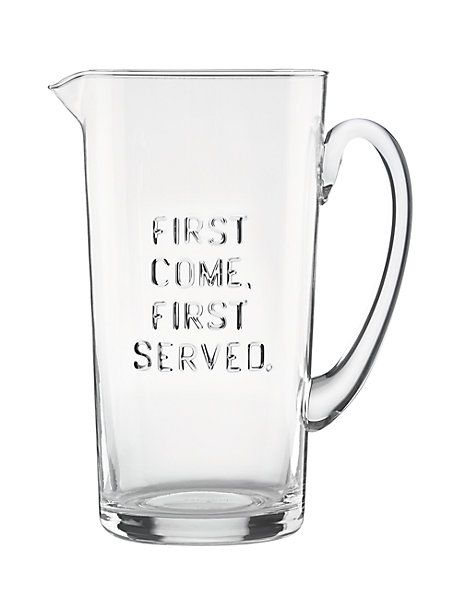 first come first served pitcher, clear, large