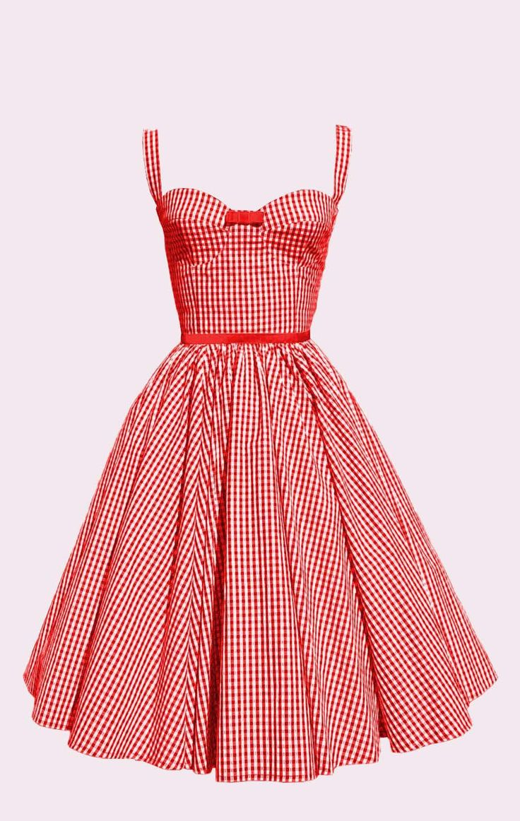 Robe vintage en coton Vichy rouge et ruban en velours rouge : Robe par lumera