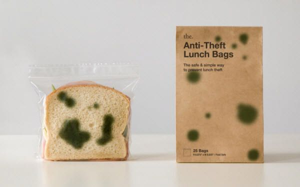 "Anti-Theft Lunch Bags  ""Anti-Theft Lunch Bags are zipper bags that have green splotches printed on both sides, making your freshly prepared lunch look spoiled. Don't let a sticky-fingered co-worker or schoolyard bully get away with your lunch ever again!"" (Image Source: thinkofthe)"