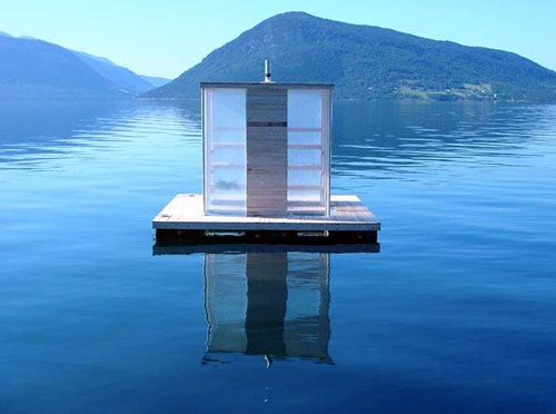 The Floating Sauna, anchored in the Hardangerfijord, Norway.  http://www.e-architect.co.uk/norway/floating_sauna.htm