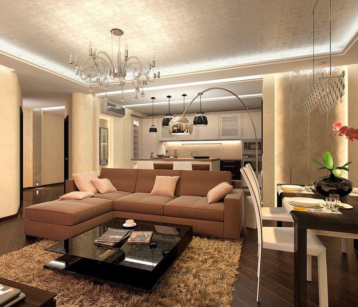 Гостиная, кухня и столовая : Гостиная в стиле модерн от Aledoconcept