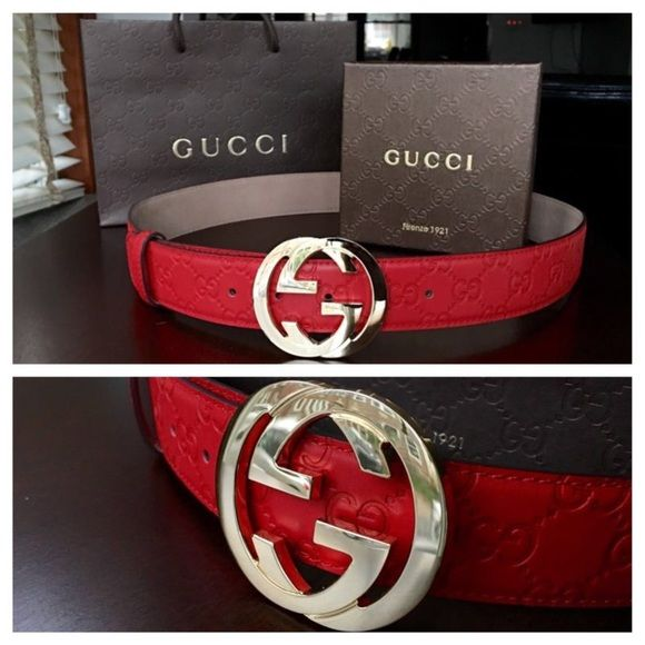 997bb32de Having trouble finding the perfect gift? April 2019. All red Gucci belt  men's still like new ...