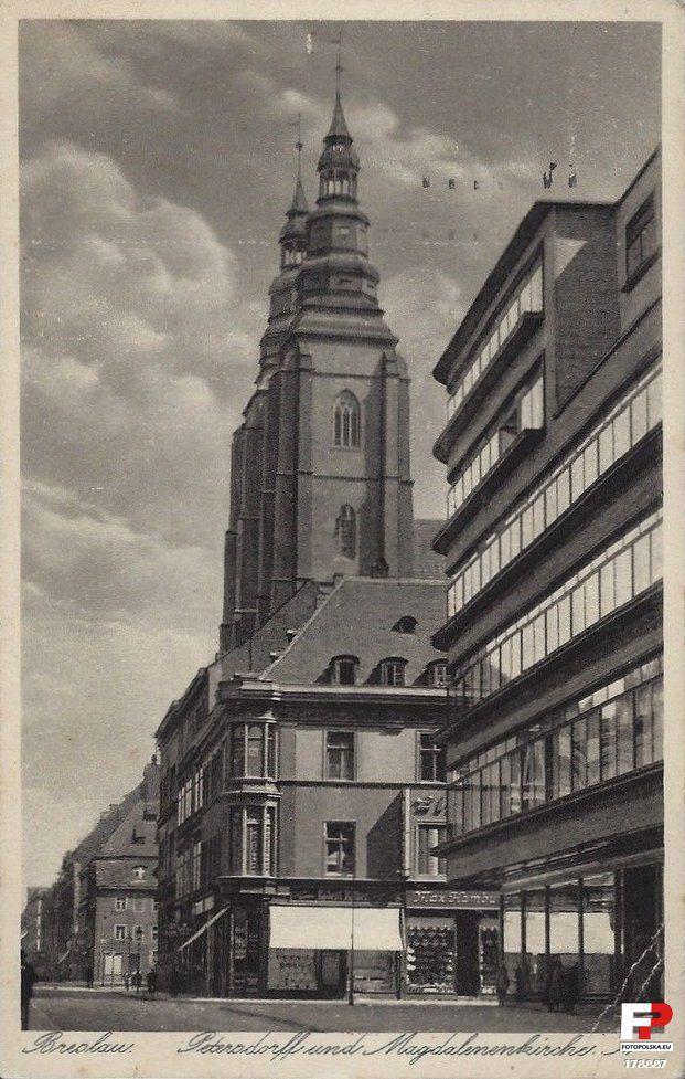 """1928 , Widok na kościół św. Marii Magdaleny i fragment ob. Domu Handlowego """"Kameleon"""" we Wrocławiu."""