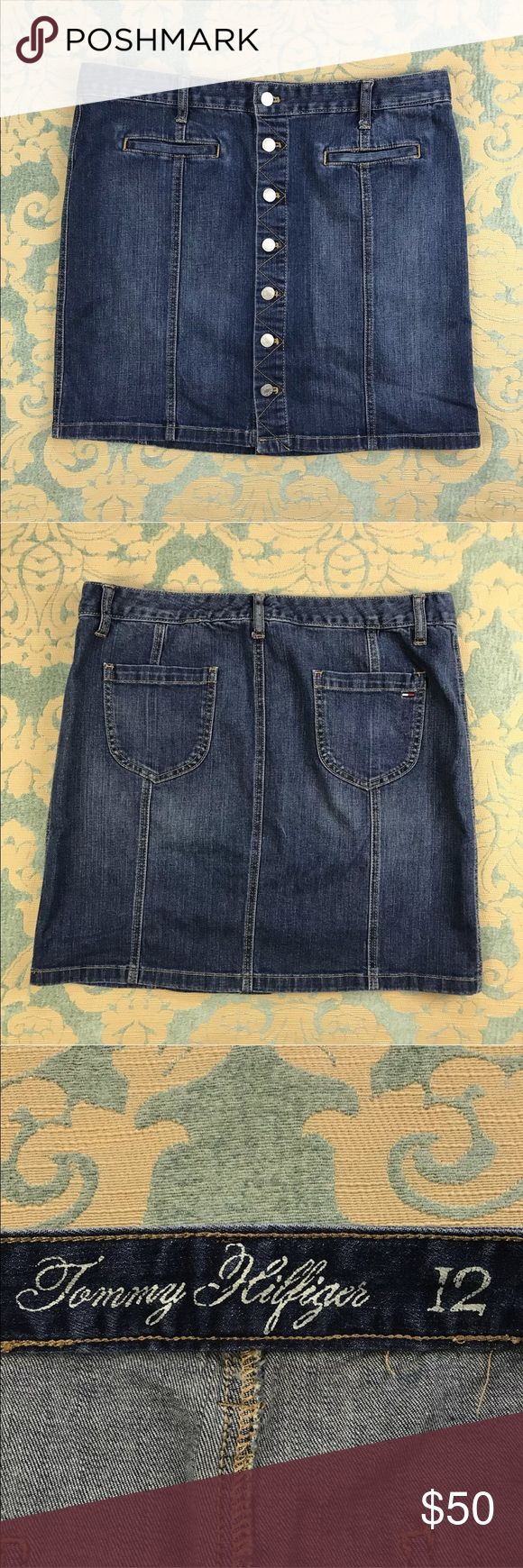 "Tommy Hilfiger Blue Jean Skirt 🦋 18"" Inseam Tommy Hilfiger Blue Jean Skirt  Women's Size: 12  Gently used, material tag missing.  Measurements lying flat: Waist 18"", Hips 21"", Length 18"".  Please, review pictures. You will get the item shown. Smoke & pet free home. Tommy Hilfiger Skirts Mini"